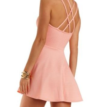 Strappy Plunging Skater Dress by Charlotte Russe