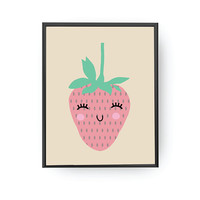 Strawberry Print, Children Education, Classroom Art, Nursery Decor, Learning Fruits, Nursery Poster, Kids Print, Cute Strawberry, Kids Decor