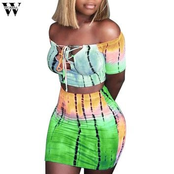 Womail Women tracksuit Summer Sexy Print Fitness 2 piece set Print Top Bandage Skirt Set fashion beach Clothes for Women J63