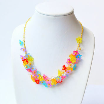 Bright colorful bellflowers necklace - acrylic flowers