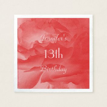 Feminine, Classy Coral Pink Rose, 13th Birthday Paper Napkin