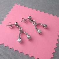 Little Headphone Charm Earrings Silver Surgical Steel Posts