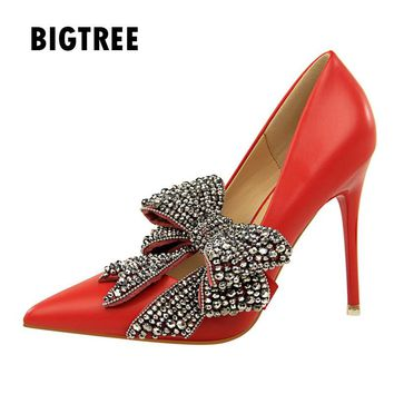 New 2018 Women pumps Luxury Rhinestones big butterfly-knot pointed toe Ladies high heels Spring Summer wedding party shoes woman