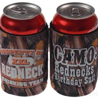 Lot of 4 Redneck Drinking Team Camo Birthday Suit Can Cooler Beverage Insulator