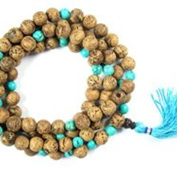 Yoga Necklace- Bodhi Seeds Turquoise 108 Prayer Beads for Meditation, Buddha Mala | Mogul Interior