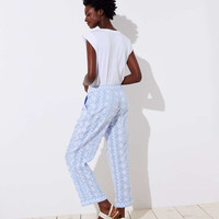 Floral Embroidered Linen Drawstring Pants | LOFT