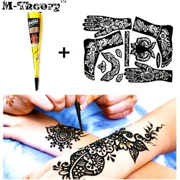 Mehndi Henna Cone with Full Stencil Set Women Fashion Temporary Tattoo Makeup Tool Waterproof 100% Safe