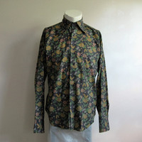 Mens 60s Floral Dress Shirt Vintage Dark Blue Floral Long Sleeve 1960s Mens Top Saxon Shop 15.5