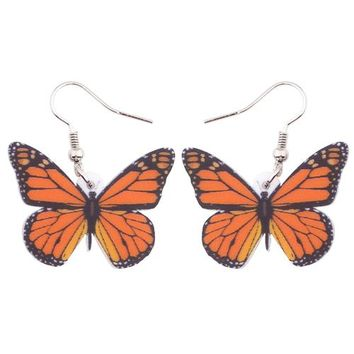Acrylic  Drop Dangle Long Insect Monarch Butterfly Earrings For Women New Fashion Jewelry Spring Summer Accessories