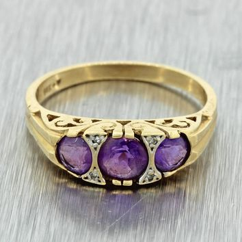 1880s Antique Victorian Estate 14k Yellow Gold .90ct Amethyst Diamond Band Ring