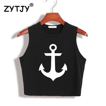 Anchor Print Women Crop Top Summer Slim Shirt For Lady Tank Top Tee Hipster White Yong Drop Ship TZ203-41