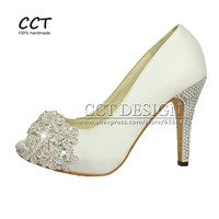 2016 New Fashion Sexy Women Pumps White Crystal Wedding Shoes Peep Toe Rhinestones Prom Party Shoes Dress Bridal High Heels