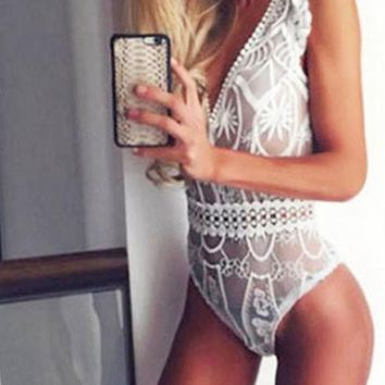 New White Floral Embroidery Lace Cut Out V-neck Short Jumpsuit
