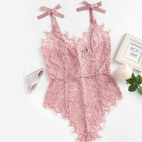 RIBBON LACE BODYSUIT