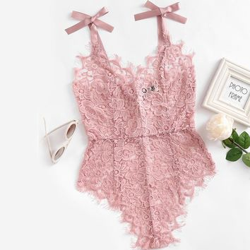 Ribbon Tie Shoulder See Through Floral Lace Bodysuit