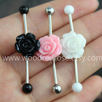 Flower Industrial Barbell, flower Body Jewelry Ear Jewelry Double Piercing,Hydrangea Belly Button Rings, flower earring