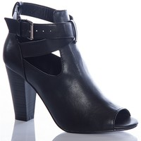 Breckelles Wicked And Wise  Sheela-12 Strappy Cut Out Peep Toe Ankle Booties - Black