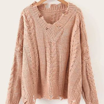Solid Ripped Cable Knit Sweater