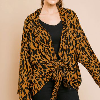 Women's Animal Print Kimono with Bell Sleeves and Front Tie