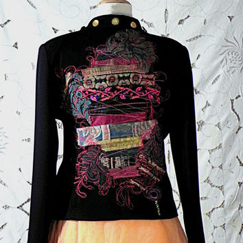 Jacket embroidered with reminiscences of Bohemian and Ethnic style