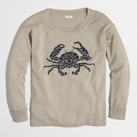 Factory embroidered crab cotton-linen sweater : Women | J.Crew Factory