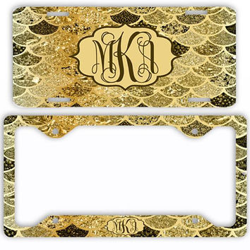 Gold Chocolate Brown Mermaid License Plate Car Tag Monogram Frame Personalized Set Custom Initials NOT ACTUAL GLITTER Mermaid Scales