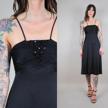 Black SEQUINED vtg 70's disco DRESS full sweep party cocktail 80's strappy empire dance