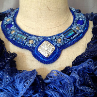 Beaded Necklace, Bead Embroidered Collar , Sapphire Blue