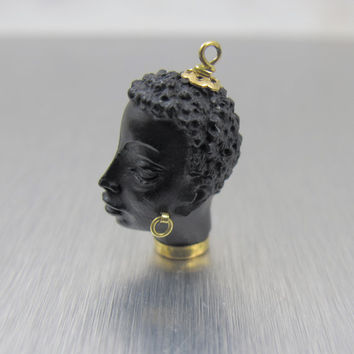 Vintage Corletto Blackamoor Pendant Charm Nubian Queen 18K Yellow Gold Carved Ebony Figural Jewelry