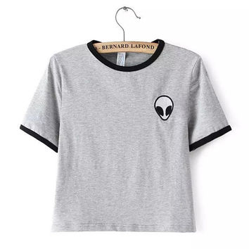 2015 Short Sleeve Alien Crop Tops WomensPrint t-shirt Cropped top alien shirt Summer Short Tops  4XL Plus Size