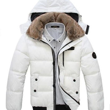 men down coat Men's coat Winter overcoat Outwear Winter jacket hooded thick fur jackets outdoor (US Size) = 1645724740