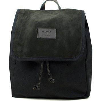 Javan Black Globe Split Leather Backpack, Canvas and Split Leather Backpack, Mediterranean Inspired, Women's Backpack