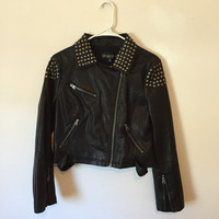 Vintage TopShop Vegan Studded Leather Jacket, Faux Leather Jacket, Studded Jacket, Bomber Jacket, Grunge Jacket, 90s Jacket, size petite sm.