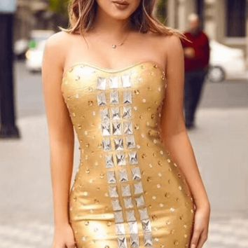 Danity Embellished Pu Dress