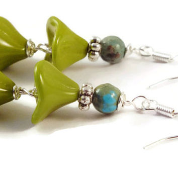 Turquoise Earrings, Sterling Silver Czech Earring Dangles, Czech Flower Earrings, Green Earrings