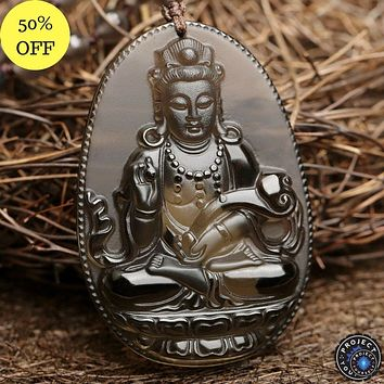 Natural Ice Obsidian Guanyin Pendant Necklace