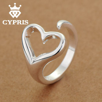 LOVE Promotion ring silver cute Fashion Ring Heart women lady girl friend best selling club unique chic Neutral Party CYPRIS