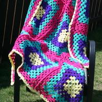 Crochet Yellow Purple Jade and Pink Toddler Baby Granny Square Afghan Blanket Coverlet Bedspread