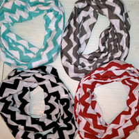 Infinity Scarf  in solid stripes and chevron by JennyofManyTrades