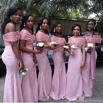 Off Shoulder Long Wedding Party Gowns Lace Mermaid African Bridesmaid Dresses 2017 Peach Coral Dress Pink Bridesmaids Gowns