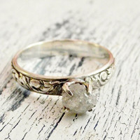 Rough Uncut Diamond Ring Rustic Sterling Silver Customized Engagement Ring