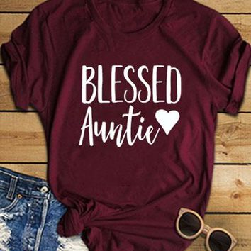 Blessed Auntie Heart O-Neck T-Shirt Aunt Mom