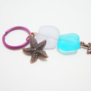 Beach Purple Lavender and Aqua Sea Glass Beaded Keychain Copper Starfish and Turtle Charms