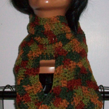 Handmade Crochet Multicolored Fall Autumn Scarf in A Wave Pattern with Acrylic Yarn