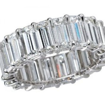 Blount Jewels 5 Carat F-G/VS2 Emerald Cut Diamond Eternity Band In Platinum