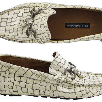 Paul Parkman Men's Driving Moccasin Beige Croco Embossed Leather Upper with Rubber Nubbed Sole