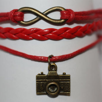 OPEN~ Handmade Infinity Camera Charm Red Leather Wedding Photographer Gift Multilayer Handcrafted Bracelet ilovecheesygrits