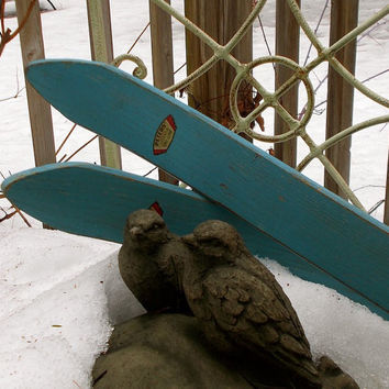 Vintage Painted Wooden Children's Skis - Robin's Egg Blue - Peters' Juvenile Ski Line Brand - Cottage Cabin Rustic Decor