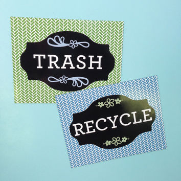 Recycle & Trash Can Magnet Set
