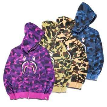 BAPE SHARK Women Men personality camouflage embroider shark long sleeve zipper hooded coat